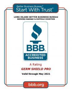 GERM SHIELD PRO Certificate BBB
